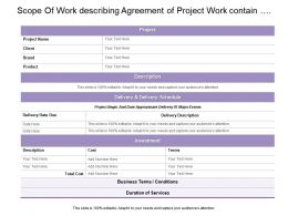 Scope Of Work Describing Agreement Of Project Work Contain Delivery Schedule And Investment Details