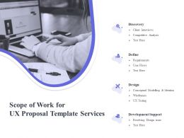 Scope Of Work For UX Proposal Template Services Ppt Powerpoint File