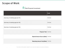 Scope Of Work Marketing Approach Ppt Powerpoint Presentation Summary Smartart