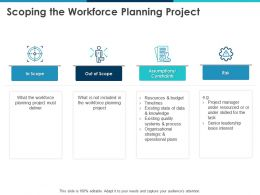 Scoping The Workforce Planning Project Assumptions Ppt Powerpoint Presentation Ideas Good