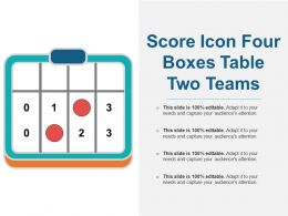 Score Icon Four Boxes Table Two Teams