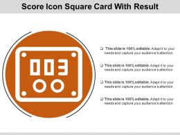 Score Icon Square Card With Result