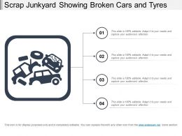 Scrap Junkyard Showing Broken Cars And Tyres