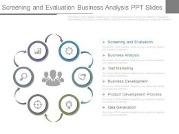 Screening And Evaluation Business Analysis Ppt Slides