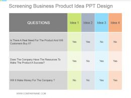 Screening Business Product Idea Ppt Design