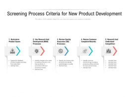 Screening Process Criteria For New Product Development