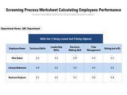 Screening Process Worksheet Calculating Employees Performance