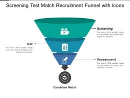 Screening Test Match Recruitment Funnel With Icons