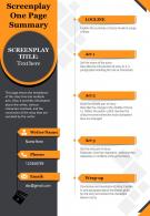 Screenplay One Page Summary Presentation Report Infographic PPT PDF Document