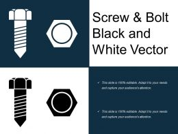 Screw And Bolt Black And White Vector