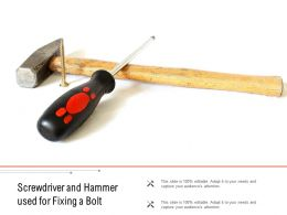 Screwdriver And Hammer Used For Fixing A Bolt