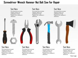 Screwdriver Wrench Hammer Nut Bolt Saw For Repair Flat Powerpoint Design