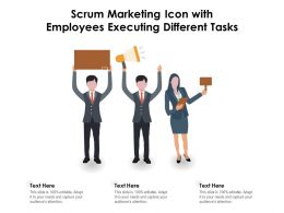 Scrum Marketing Icon With Employees Executing Different Tasks