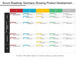 Scrum Roadmap Swimlane Showing Product Development Metrics