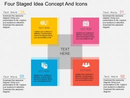Sd Four Staged Idea Concept And Icons Flat Powerpoint Design