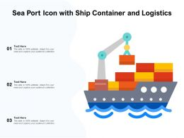Sea Port Icon With Ship Container And Logistics