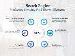 Search Engine Marketing Showing Six Different Elements