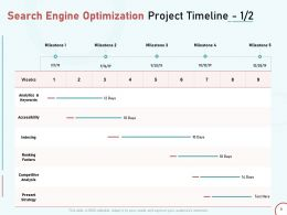 Search Engine Optimization Project Timeline Keywords Ppt Powerpoint Presentation Tips