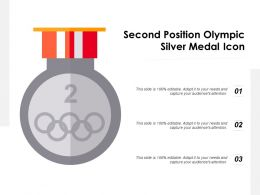 Second Position Olympic Silver Medal Icon