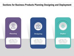 Sections For Business Products Planning Designing And Deployment