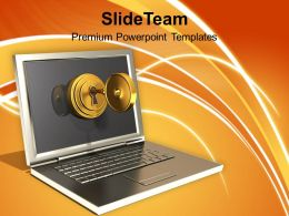 Secured Laptop And Information Technology Powerpoint Templates Ppt Themes And Graphics 0113