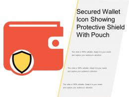 Secured Wallet Icon Showing Protective Shield With Pouch