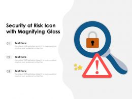 Security At Risk Icon With Magnifying Glass