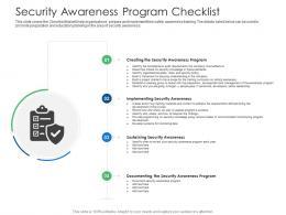 Security Awareness Program Checklist Cyber Security Phishing Awareness Training Ppt Slides