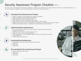 Security Awareness Program Checklist Implementing Security Awareness Program Ppt Topics