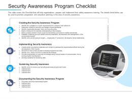 Security Awareness Program Checklist Information Security Awareness Ppt Template Shapes
