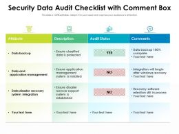 Security Data Audit Checklist With Comment Box