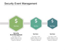 Security Event Management Ppt Powerpoint Presentation Styles Infographics Cpb