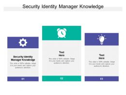 Security Identity Manager Knowledge Ppt Powerpoint Presentation Background Cpb