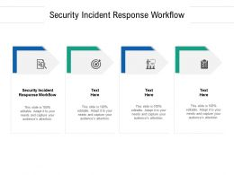 Security Incident Response Workflow Ppt Powerpoint Presentation Inspiration Templates Cpb
