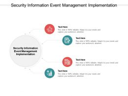 Security Information Event Management Implementation Ppt Powerpoint Formats Cpb