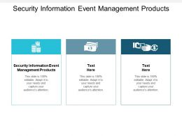 Security Information Event Management Products Ppt Powerpoint Presentation Model Cpb
