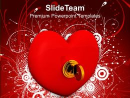 Security Key On Heart Love PowerPoint Templates PPT Themes And Graphics 0213