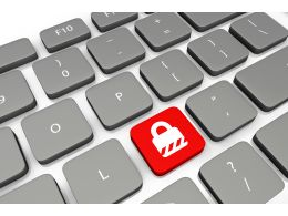 Security Key On Keyboard For Safety Stock Photo