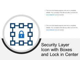 Security Layer Icon With Boxes And Lock In Center