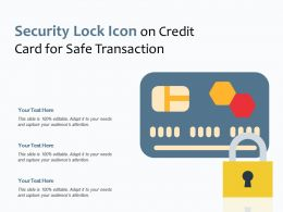 Security Lock Icon On Credit Card For Safe Transaction