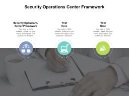 Security Operations Center Framework Ppt Powerpoint Presentation Professional Cpb