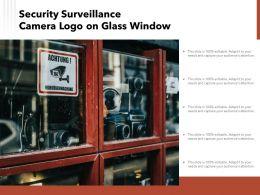 Security Surveillance Camera Logo On Glass Window