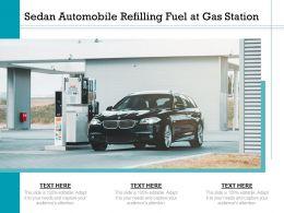 Sedan Automobile Refilling Fuel At Gas Station