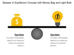 Seesaw In Equilibrium Concept With Money Bag And Light Bulb