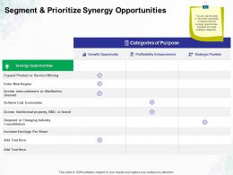 Segment And Prioritize Synergy Opportunities Ppt Powerpoint Presentation Model Example