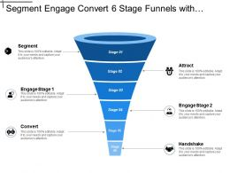 Segment Engage Convert 6 Stage Funnels With Numbers And Icons