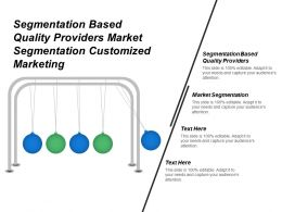 Segmentation Based Quality Providers Market Segmentation Customized Marketing