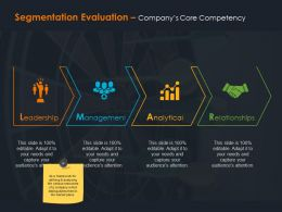 Segmentation Evaluation Companys Core Competency Ppt Summary Grid