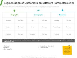 Segmentation Of Customers On Different Parameters Ppt Powerpoint Presentation Summary