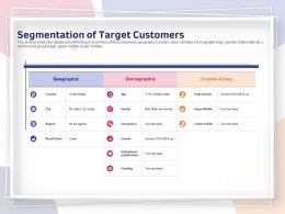 Segmentation Of Target Customers Demographic Ppt Powerpoint Presentation Infographic
